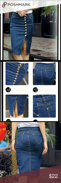 Denim Skirt Stylish denim pencil skirt. Slit front with gold buttons. Has good amount of stretch.  Please refer to size chart for exact measurements Skirts Pencil