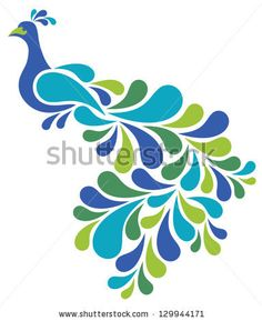 Abstract Peacock illustration of a retro-style bird. by Lisa Fischer, via Shutterstock