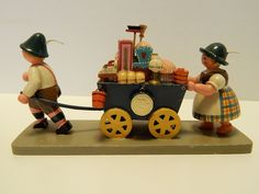 Early Vintage Erzgebirge Expertic Wendt Kuhn Moving Day Man Woman Pulling Cart