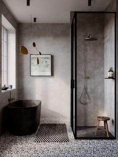 Bathroom Interior Design, Modern Interior, Paper Floor Lamp, Modern Shower, Bathroom Modern, Bathroom Inspo, Small Bathrooms, Bathroom Ideas, Mid Century Modern Living Room