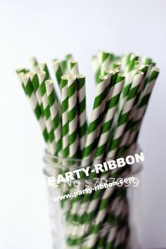 Free DHL Shipping $100 Above Striped Paper Straws, Drinking Paper Straws Drinking Straws GREEN Panton 364C Birthday Party