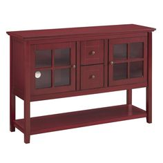 """Lowest price online on all Walker Edison 52"""" TV Stand in Antique Red - W52C4CTRD"""