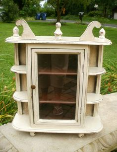 Shabby Vintage Country French Wall Curio Cabinet