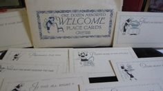 Art Deco Complete set of unused Welcome place cards by puffadonna, $48.00