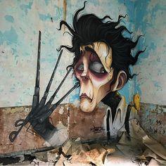 @powwowdc #Mural by DavidL (@davidl_bcn) in Lugo, #Spain. ▪️  by  @rakeru_urbex ▪️ #davidlbcn #edwardscissorhands #timburton
