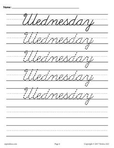 7 FREE Days of the Week Cursive Handwriting Worksheets! Cursive Handwriting Practice, Cursive Writing Worksheets, Cursive Alphabet, Improve Your Handwriting, Handwriting Analysis, Tracing Worksheets, Learn Cursive, Writing Cursive, Seasons Worksheets