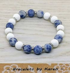 Blue Spot Jasper and Alabaster with Silver Spacers Blue Spot Jasper and Alabaster with Silver Spacers Cute Bracelets, Gemstone Bracelets, Bracelets For Men, Gemstone Jewelry, Beaded Jewelry, Jewelry Bracelets, Stretch Bracelets, Diffuser Jewelry, Homemade Jewelry