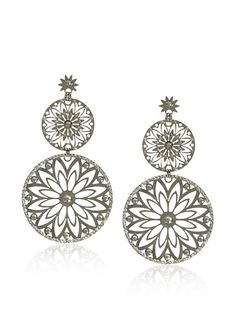 LK Designs Shiny Silver Starburst Circles Earrings at MYHABIT - StyleSays