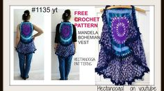 MANDALA BOHEMIAN CROCHET VEST sweater, free crochet pattern, adult small (30 to 38 chest) #1135yt, gypsy vest, FREE CROCHET PATTERN on my BLOG- Mandela Bohem...
