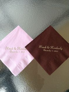 Items similar to 200 total 100 pink and 100 choc brown Beverage personal napkins your names and date on Etsy Wedding Reception, Wedding Cake, Wedding Stuff, Wedding Ideas, Jessica Adams, Deco Rose, Personalized Napkins, Wedding Napkins, Cake Table
