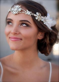 Vintage Swarovski Crystal Hippie Headband with Silk Petal Sides (Doloris Petunia on Etsy)