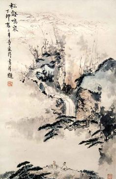 "Chinese brush painting: ""Valley"" by Zhang Cuiying Chinese Landscape Painting, Japanese Painting, Chinese Painting, Landscape Art, Japanese Art, Landscape Paintings, Asian Landscape, Landscapes, Waterfall Paintings"