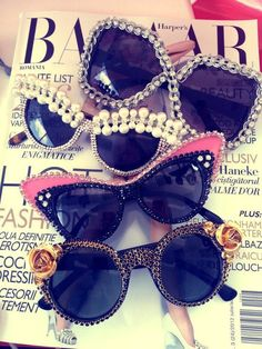 Outrageous embellished retro style sunglasses, which are your favorite? :: Vintage Sunglasses:: Retro Sunglasses:: Pin Up Style. So whats your style Ray Ban Sunglasses Sale, Sunglasses Outlet, Sunglasses Online, Sunglasses 2014, Clubmaster Sunglasses, Chanel Sunglasses, Cheap Sunglasses, Sunglasses Women, Fashion Now