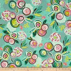 Art Gallery Chalk & Paint Sprayed Blooms Bright from @fabricdotcom  Designed by Sew Caroline for Art Gallery Fabric, this cotton print is perfect for quilting, apparel and home decor accents. Art Gallery Fabric features 200 thread count of finely woven cotton. Colors include green, pink, yellow and coral.