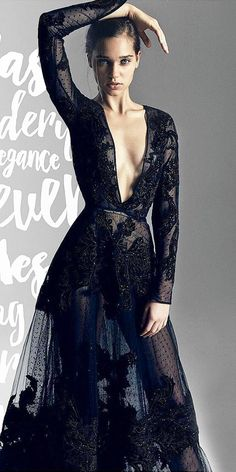 gothic wedding dresses deep v neckline with long sleeves black sexy zuhair murad official