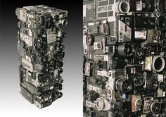 "yashica ~ Rémy Tassou creates amazing three dimensional totems using a variety of materials hidden inside data-processing machines, electric and electronic articles. Tassou defines his sculptures by the concept of ""cybertrash"". Unique pieces, that tell the memory of a technology damned to obsolescence right at the origin."