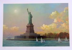 STATUE OF LIBERTY ~Alexander CHEN Signed GICLEE 1267/2250 Unframed ~Ellis Island in Art, Art from Dealers & Resellers, Prints   eBay