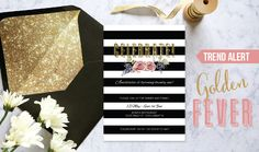 PaperDivas Blog - Gold Glitter Fever! Invitation Design, Invitations, Paper Divas, Gold Party, Gold Glitter, Rsvp, Stationery, Blog, Papercraft