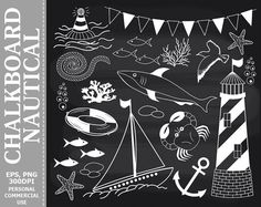 BUY 1 GET 1 FREE Chalkboard Nautical Clip Art by TheCreativeMill