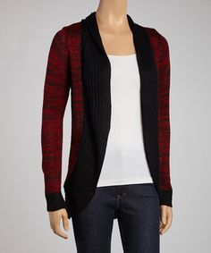 Take a look at this Red & Black Color Block Open Cardigan by Boulevard Apparel on #zulily today!