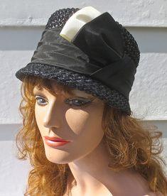 Vintage 1960's MAXINE HATS Designer Black Straw by delilahsdeluxe, $27.50