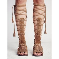 Suede Lace Up Knee High Gladiator Flat Sandals chiclookcloset ($50) ❤ liked on…