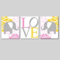 Modern Elephant Giraffe Love Trio  Set of Three 11x14 by Tessyla, $59.50