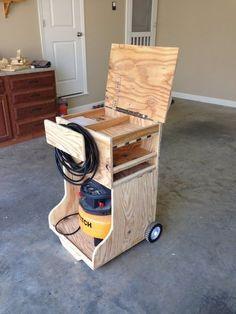 Woodworking workshop storage air compressor new Ideas Craft Storage Cart, Tool Storage, Diy Storage, Closet Storage, Storage Ideas, Woodworking Furniture, Woodworking Projects, Garage Furniture, Furniture Ideas