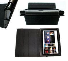 Navitech Schwarze Premium Leder Flip Trage Tasche Mit Einstellbarem Ständer Und Anti Blend Bildschirm Schutz Für Das Sony Tablet S SGPCK1 9.4 Zoll Android 3.2 Gerät | Tablet PC Halterung