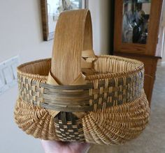 9.5in tall (including handle) x 9.5in wide at opening. Finely Woven Large Vintage Southern Splint Oak Buttocks Basket w/ Fancy Weavers
