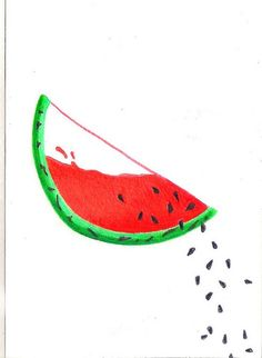Watermelon Watermelon Cartoon, Watermelon Art, Watermelon Carving, Painting & Drawing, Watercolor Paintings, Cute Paintings, Pretty Wallpapers, Easy Drawings, Doodle Art