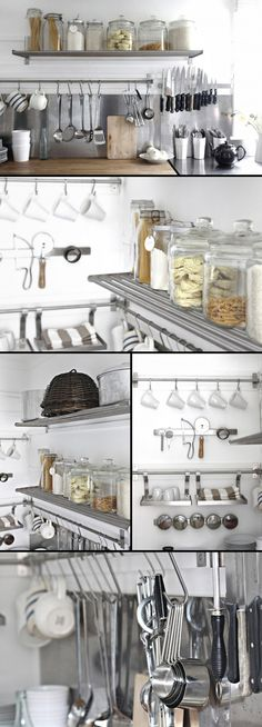 "KITCHEN :: Beach Cottage Kitchen Organization Part I :: Grundtal stainless steel wall shelf ($14.99 ea., 31.5"") & Grundtal stainless steel rail ($9.99 ea., 31.5"") I #grundtal #ikea #organization"