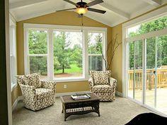 Sunroom - deck on side Four Seasons Room, Three Season Room, Sunroom Decorating, Sunroom Ideas, Back Porch Designs, Small Sunroom, Family Room, Home And Family, Sunroom Addition
