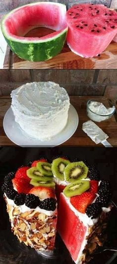 Looks good and it's a healthy cake! watermellon cake . Sooo good. cut the watermellon into a cylinder and then slice it like a cake. whip up a chilled can of coconut cream (set aside the water first) with 3 tablespoons of sugar. dip the back of each slice into the cream and then into some toasted coconut or almond or granola. reassemble. cover top with remaining cream and top it all off with your choice of fruit.