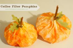 Easy Craft: Coffee Filter Pumpkins from The Happier Homemaker