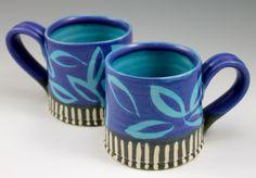 © 2014 Ann Lindell Ceramics | 2 cups | Wheel-thrown stoneware, layered glazes, wax resist decoration. ^6 Oxidation