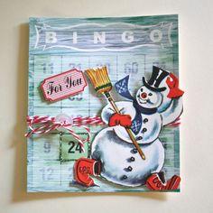 Frosty Christmas Tag made of VSM Bingo Craft Card, VSM red Twirly Twine and VSM Christmas ephemera.