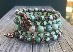 SALE Tree Agate Gemstone and Copper Multi Strand Memory Wire