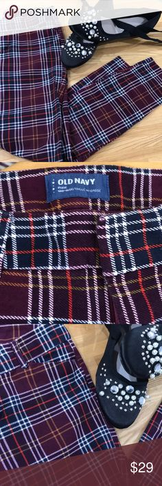 "Mid Rise Stretchy Pants Inseam 25"" waist is 28"". Length is 32"". Worn once. Maroon plaid with white, red and gold stripes. Belt loops and front pockets. Material is stretchy. Old Navy Pants Skinny"