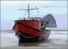 These are the Dory Boats that are famous in Pacific City. You launch them straight into the surf instead of a bay. I've been out on a dory boat fishing several times while I've lived here.
