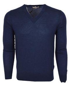 NEW Burberry London Men's $650 Blue 100% Cashmere Plaque Logo Sweater S…