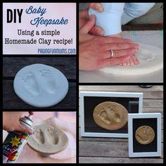 DIY Baby Keepsake - using homemade clay! Using baking soda,water and cornstarch.