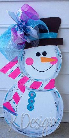 Wooden Snowman for your front door  wooden door by paintchic, $43.00