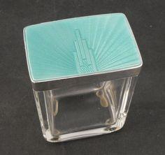 Antique Art Deco Guilloche Enamel & Sterling Glass Box by H.C. Davis