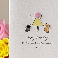 I've just found Personalised 'Button Pet' Handmade Birthday Card. A cute and whimsical, hand illustrated 'Button Pet' card, ideal for any occasion! Art Birthday, Birthday Cards For Men, Handmade Birthday Cards, Birthday Greeting Cards, Personalized Buttons, Karten Diy, Button Cards, Cat Cards, Hand Illustration