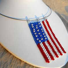 U.S. Flag Necklace hand beaded flag choker by rainbeauxcraft