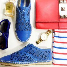 Cobalt Laser Cut Espadrilles Details: • Size 6 • Cobalt leather • Lace up style • Brand new in box  02121609 Cynthia Vincent Shoes Espadrilles