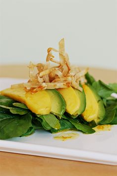Avocado and mango salad with Tequila-lime vinaigrette- dinner tonight!