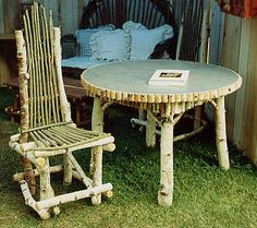 Birch twig table and chair
