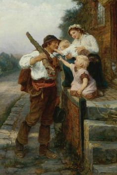 Frederick Morgan (1847/1856 - 1927) blond-headed children who love their daddy